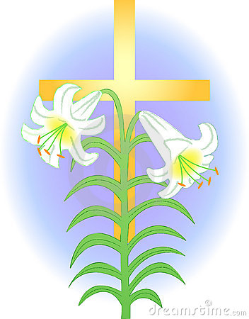 Illustration Of An Easter Lily Over A Golden Cross Symbolizing Easter