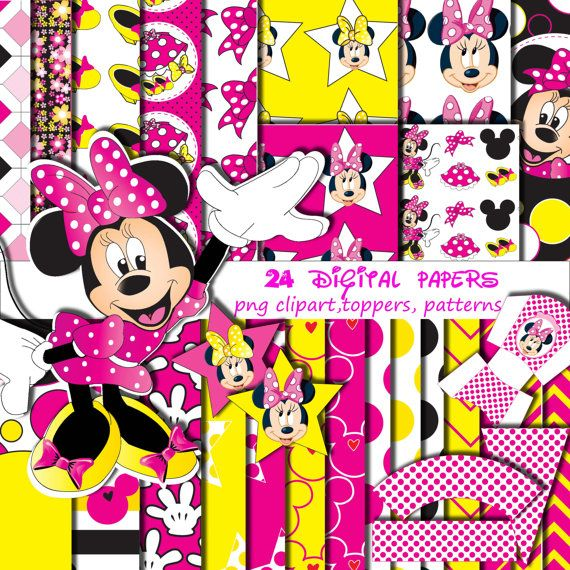 Minnie Mouse S Digital Papers Free Png Digital Clip Art Star Toppers
