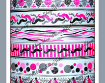 New 16 Yards 7 8  Glitter Mus Tache Lot Black Hot Pink On White
