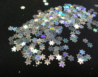 Solvent Resistant Glitter Shapes Sm All Silver Hologram Snowflakes
