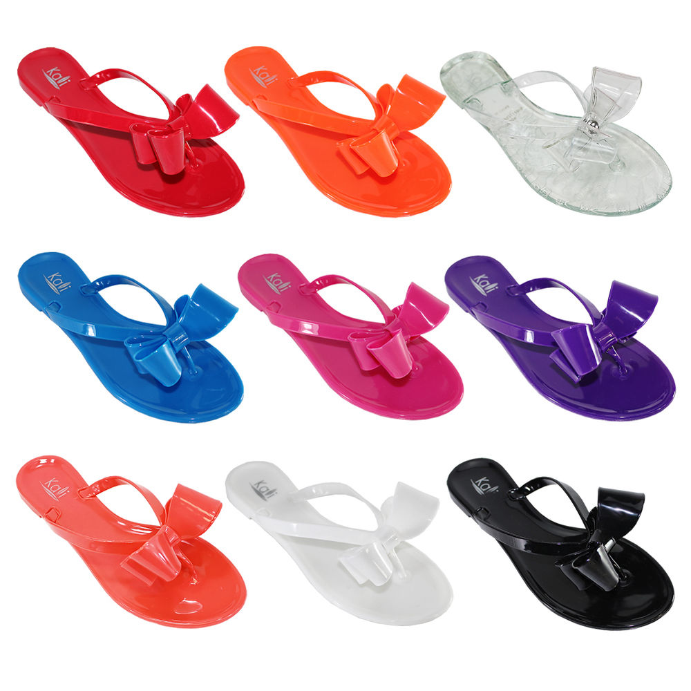 Women Summer Jelly Ribbon Bow Flip Flops Thong Flat Sandals Slipper