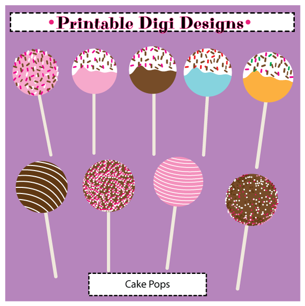 Cake Pops Clipart Set   3 50 Cake Pops 9 Piece Clipart Set High