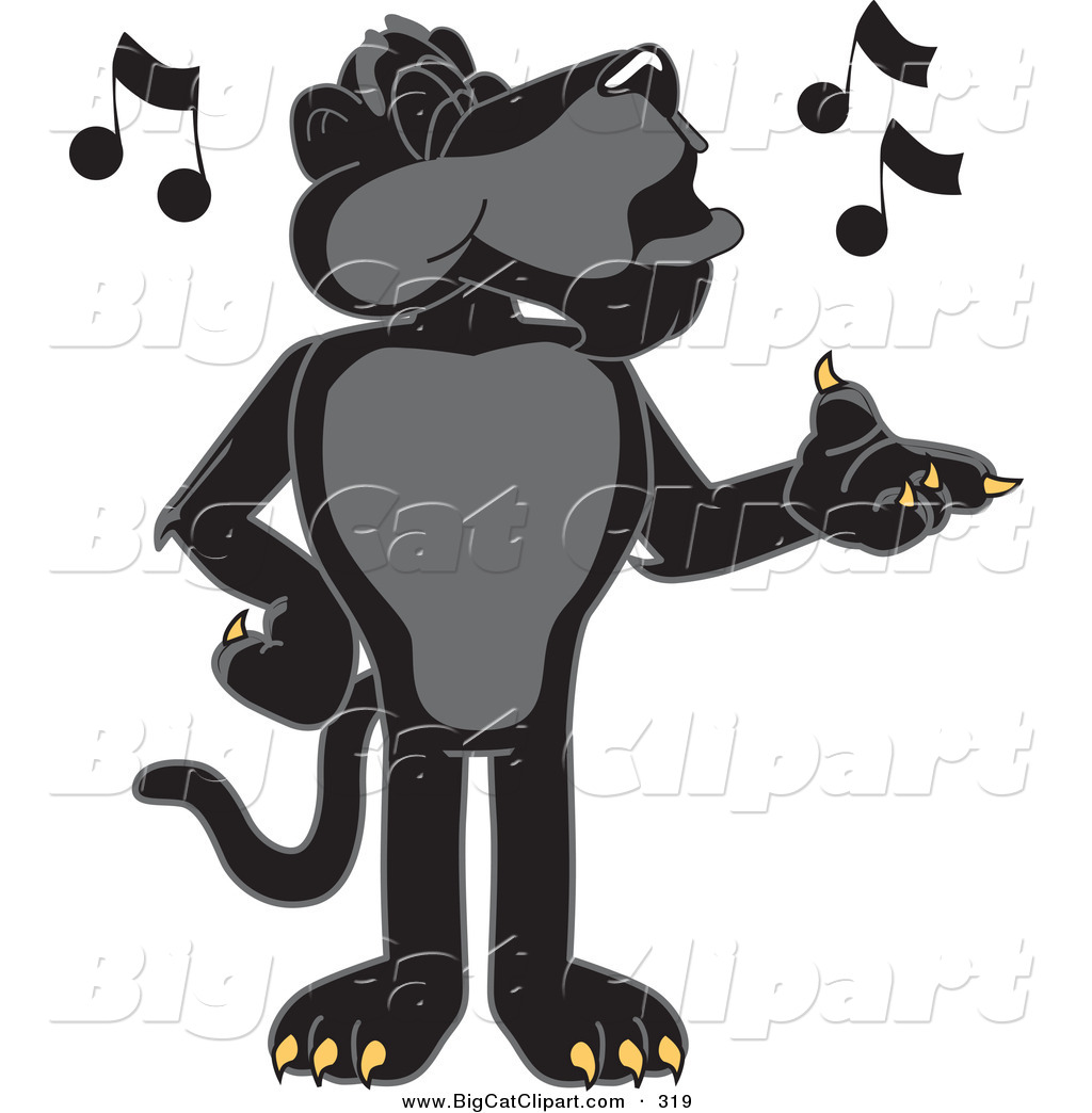 Cat Cartoon Vector Clipart Of A Happy Black Jaguar Mascot Character