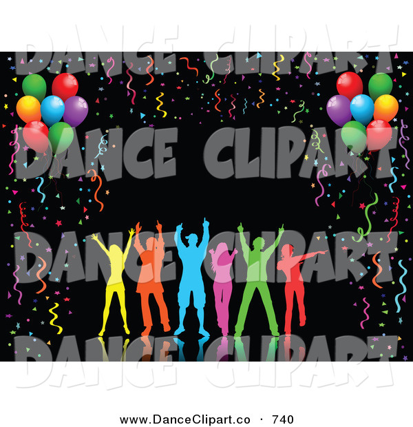 Clip Art Of A Group Of Happy Silhouetted Colorful People Dancing Over