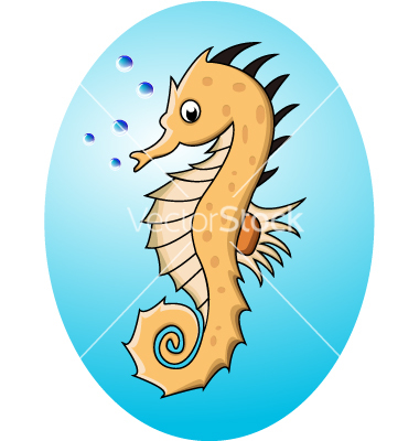Clipart Vector Sea Horse Funny Cartoon Blue Seahorse Isolated Pictures