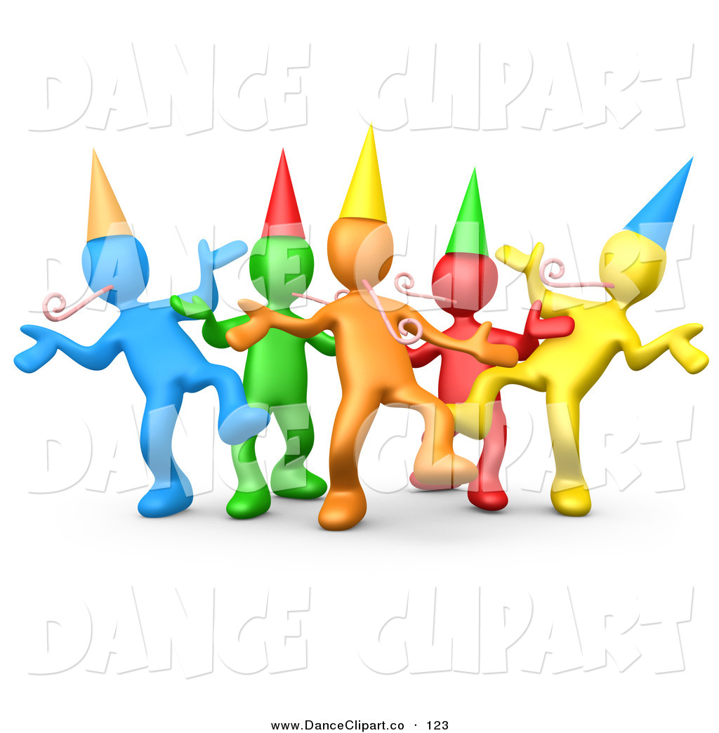 Diverse Group Of Colorful Happy People Wearing Party Hats And Blowing