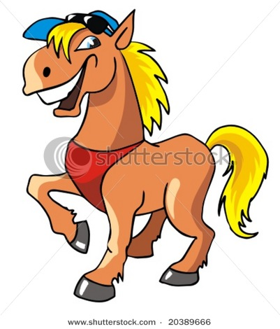 Laughing Cartoon Horse With Sunglasses And Baseball Cap Vector
