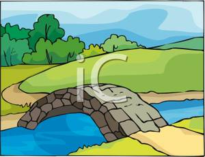 Stone Bridge Over A Creek   Royalty Free Clipart Picture