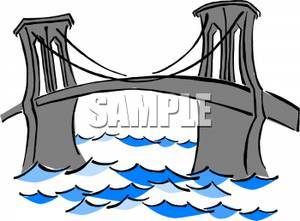 Suspension Bridge Over Rough Water   Royalty Free Clipart Picture