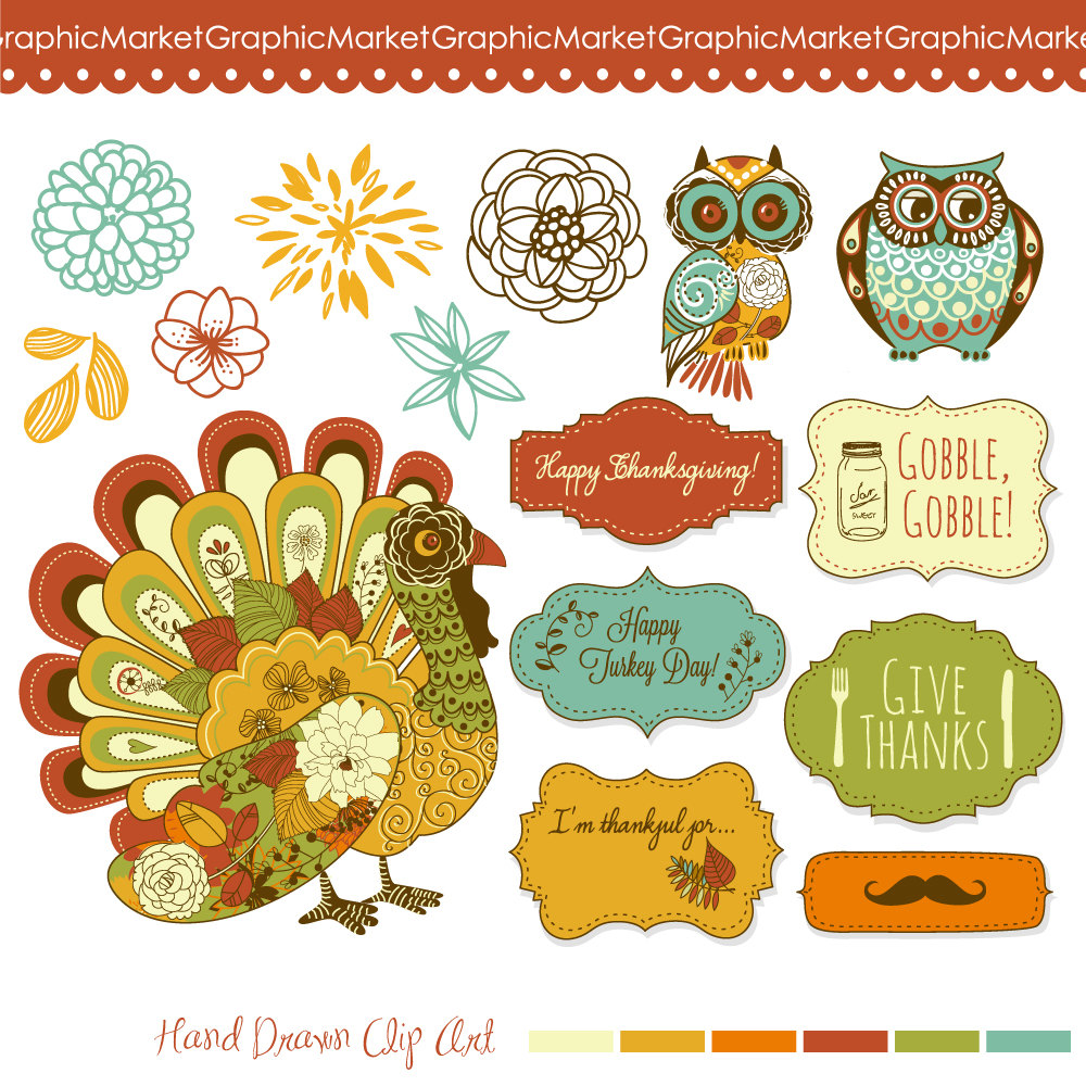 Thanksgiving Clip Art Turkey Fall Clipart Owls By Graphicmarket