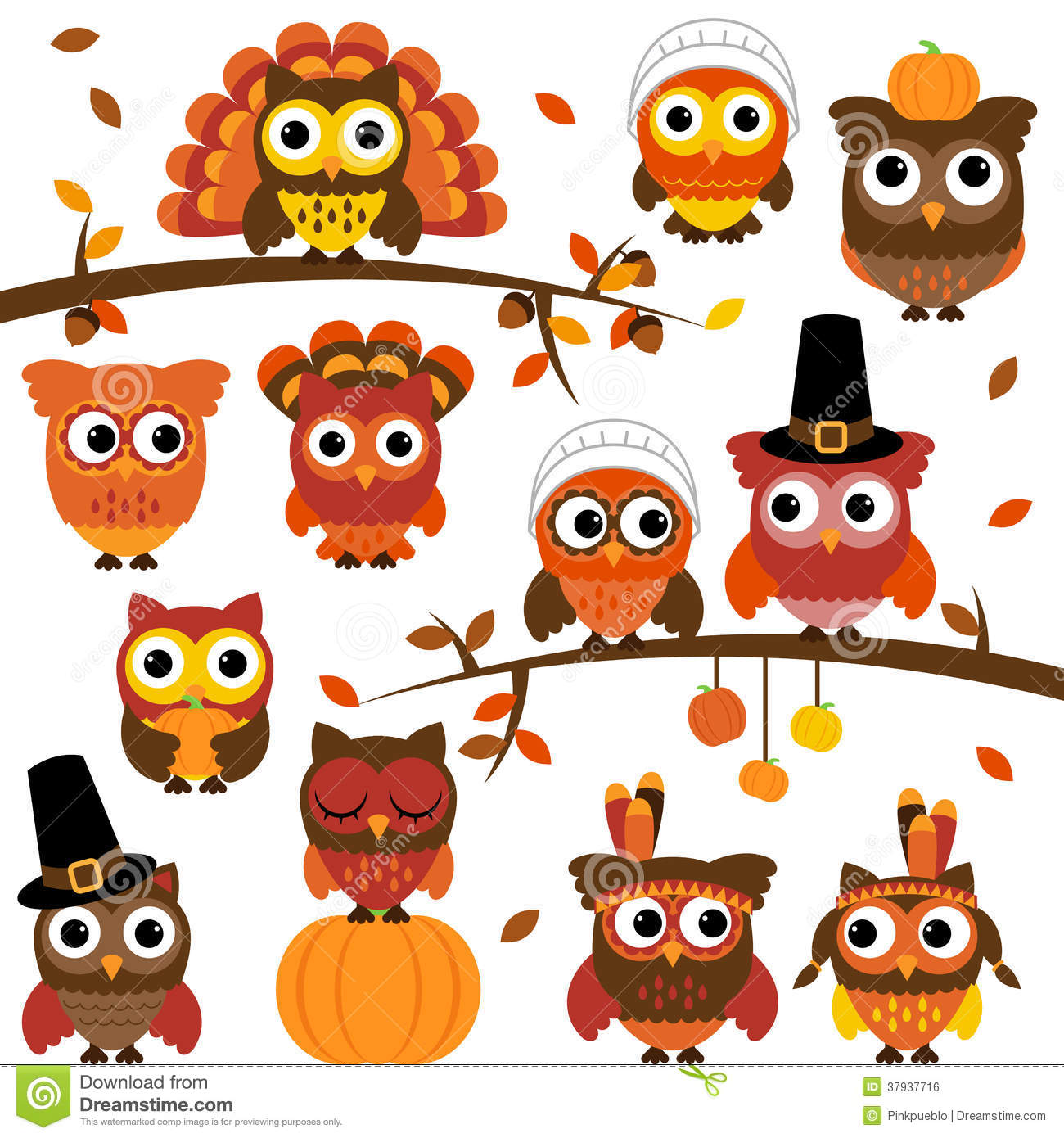 Thanksgiving Owl Clip Art Thanksgiving And Autumn Themed Vector Owl