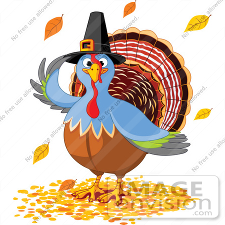 Thanksgiving Turkey Bird Wearing A Pilgrim Hat And Standing In Fall