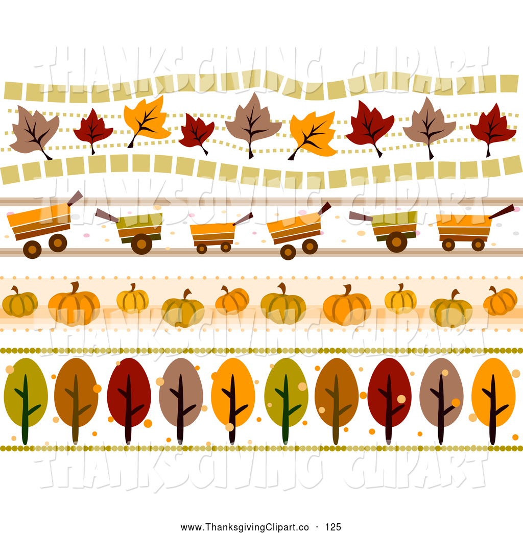 Vector Clip Art Of A Digital Collage Of Fall Autumn Orange Borders By