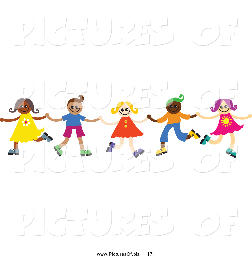 Vector Clipart Of A Group Of Happy Diverse Children Dancing And