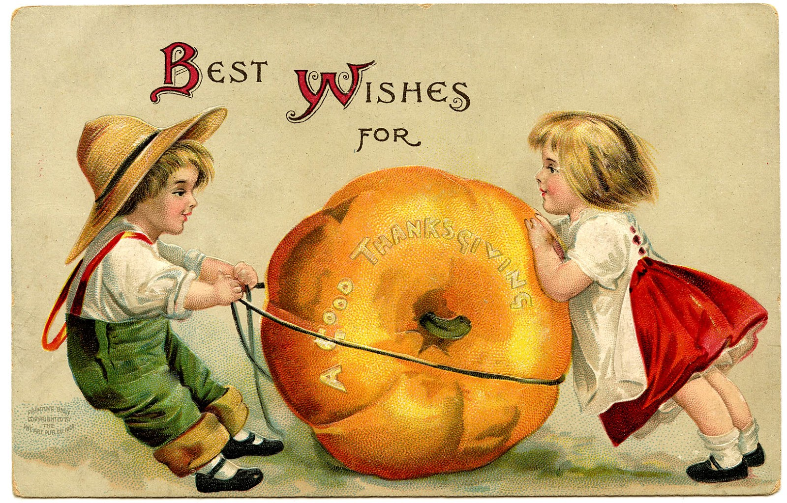 Vintage Thanksgiving Image   Cute Kids With Pumpkin   The Graphics