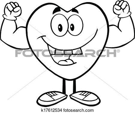 Black And White Happy Heart Cartoon Mascot Character Showing Muscle