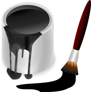 Black Paint Bucket With Paint Brush Clip Art At Clker Com   Vector
