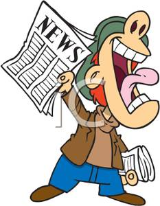 Boy Yelling To Sell Newspapers Clipart Image