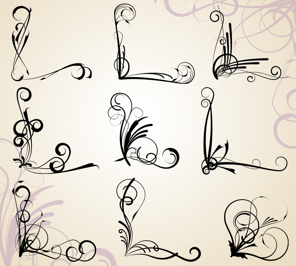 Corner Flourishes Clip Art Clipart Commercial Use By Pinkpueblo