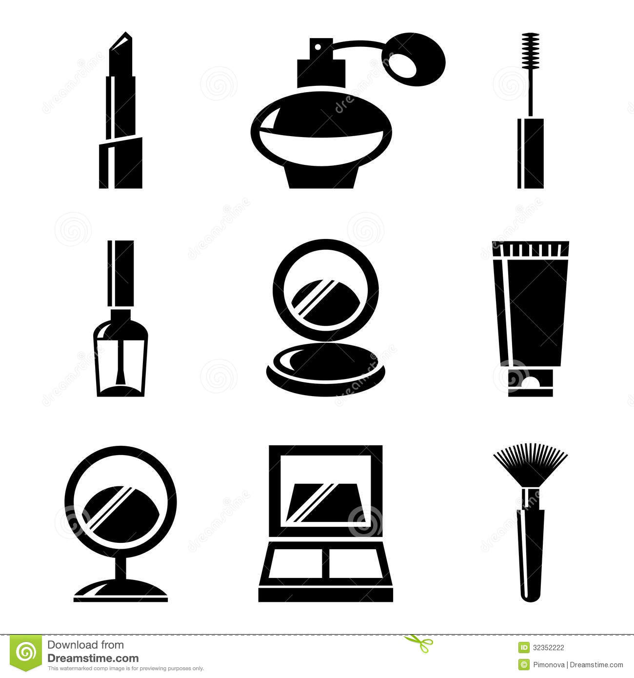 Cosmetics Icons Set Black And White Illustrations