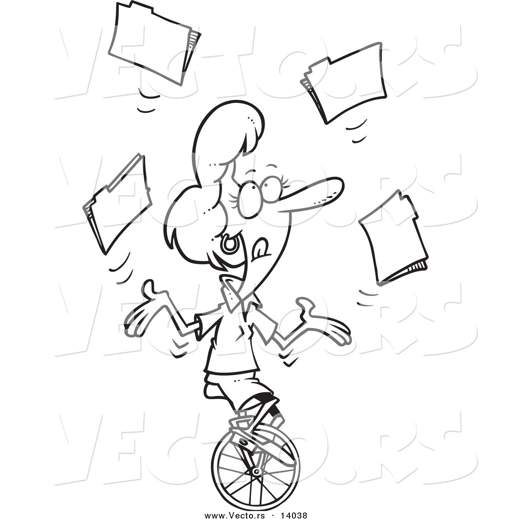 Folders Unicycle Coloring Page Outline Ron Leishman