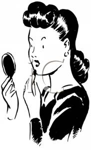 Free Clipart Image  Black And White Retro Woman Putting On Lipstick