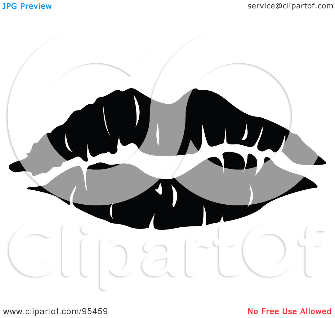 Royalty Free  Rf  Clipart Illustration Of A Seductive Black Lipstick