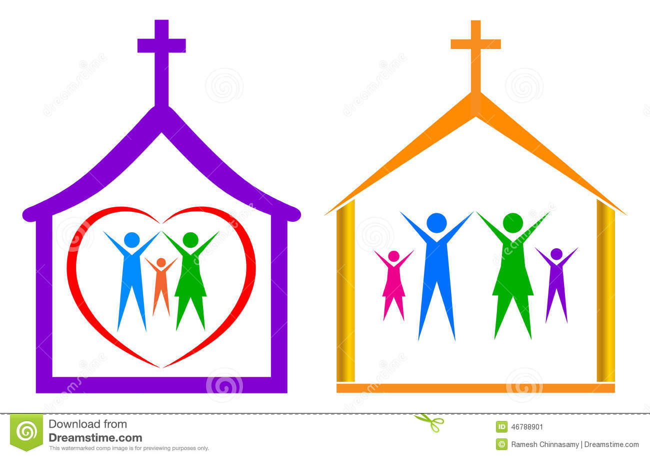 Simple Illustration Of Church And Family On White Background