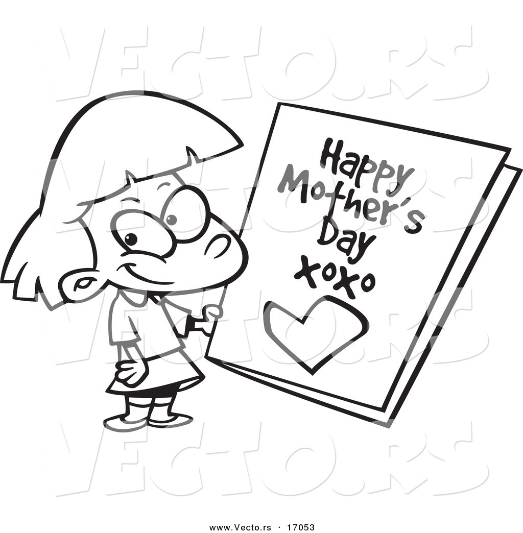 Vector Of A Cartoon Girl Holding A Mothers Day Card   Coloring Page