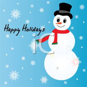 Clipart Image Of Happy Holidays Written Next To A Snowman