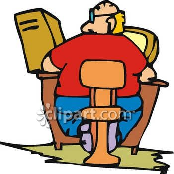 Fat Man Sitting At A Computer Royalty Free Clipart Image