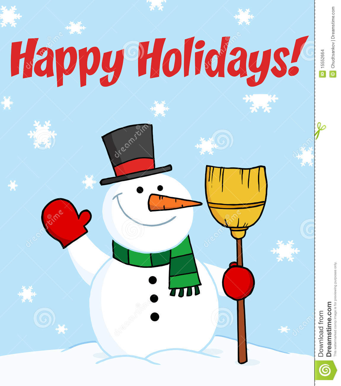 Happy Holidays Greeting With A Snowman Stock Images   Image  15552664