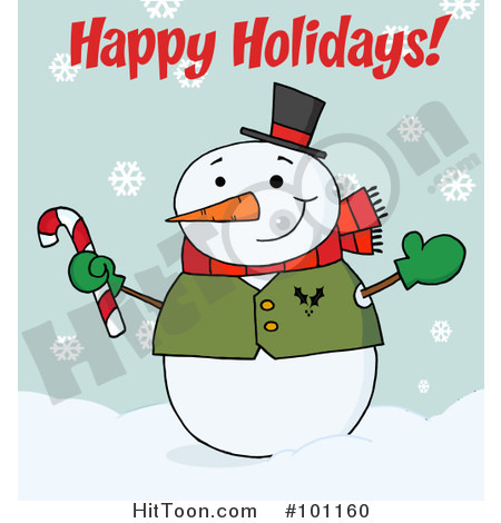 Happy Holidays Greeting With A Snowman Waving And Holding A Candy Cane