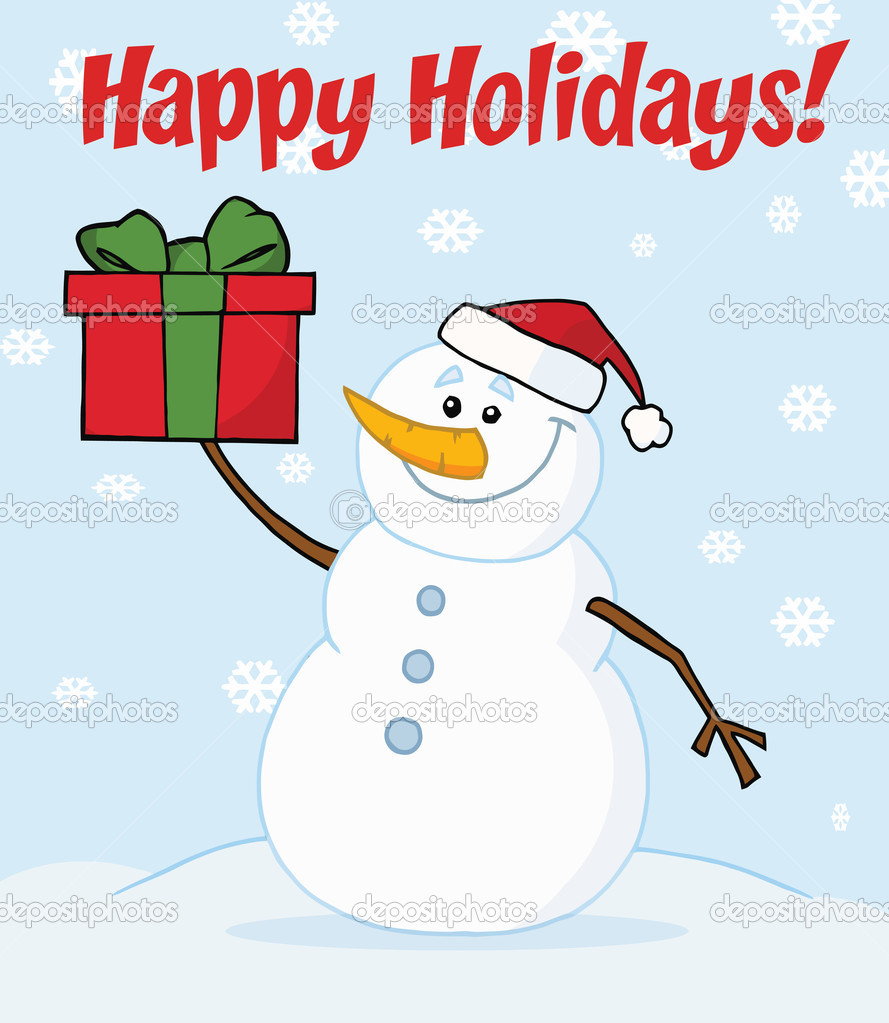 Happy Holidays Snowman Clipart Happy Holidays Greeting With A