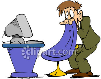 Man Scared Of His Computer Clipart   Royalty Free Clip Art Image