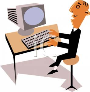 Man Working At A Computer   Royalty Free Clipart Picture