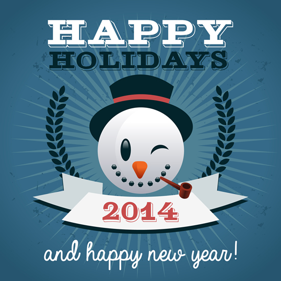 Merry Christmas Happy Holidays And Happy New Year 2014 Vector Graphic