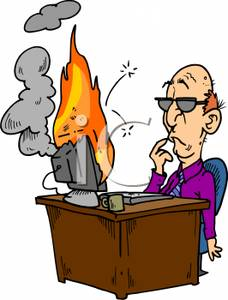 Of A Man With His Computer On Fire   Royalty Free Clipart Picture