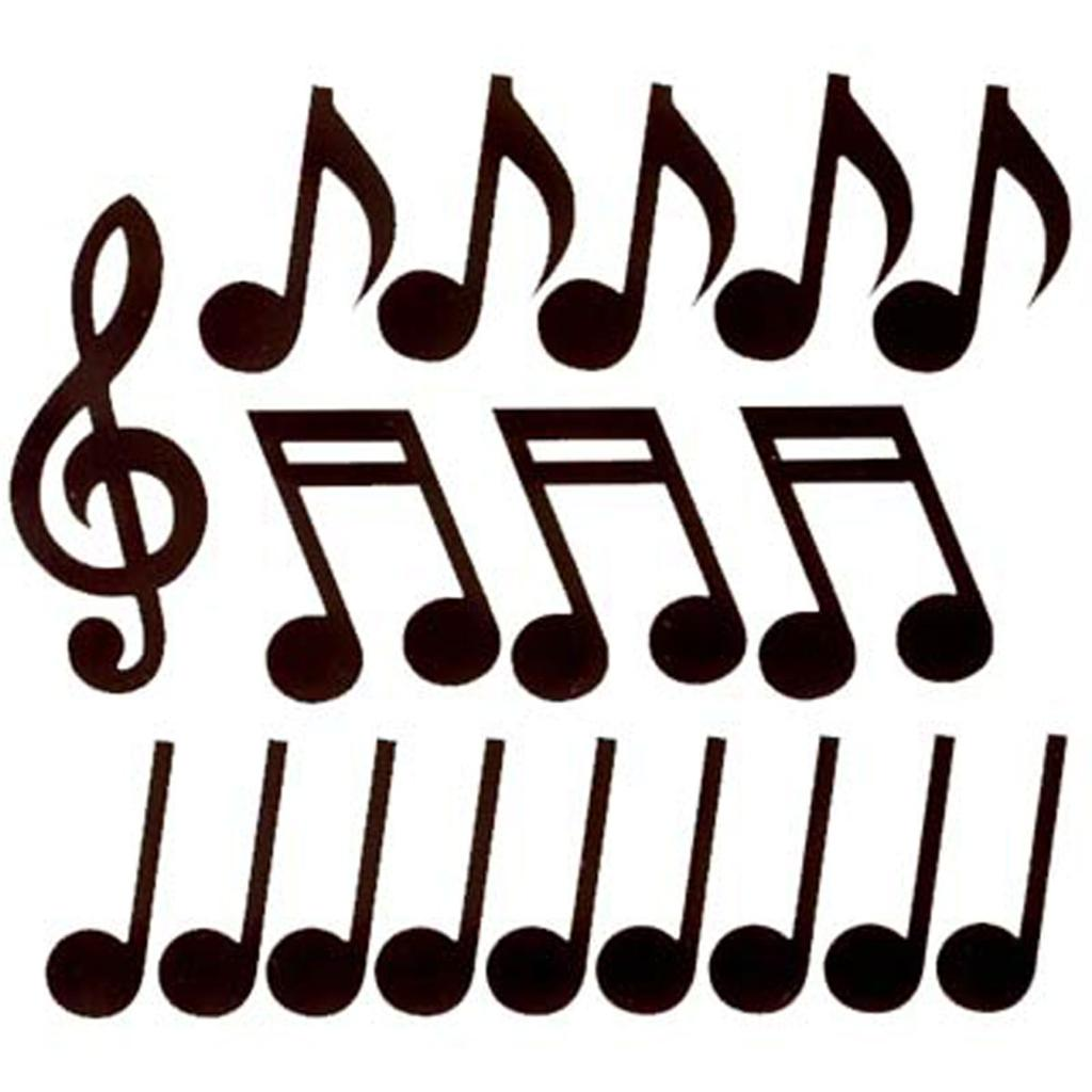 Pack of 18 black music note cutouts rock and roll 50s musicals