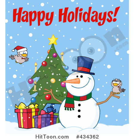 Rf  Clipart Illustration Of Happy Holidays Text By A Christmas Snowman