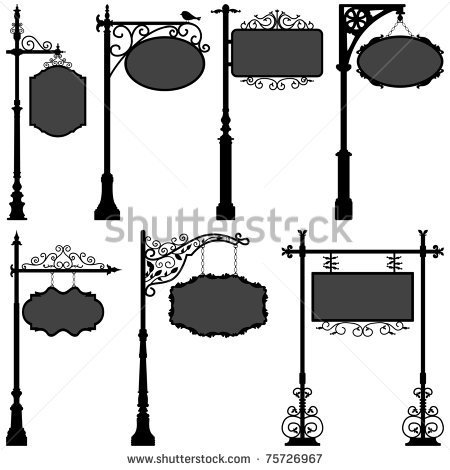 Signage Shop Sign Route Pole Information Frame Direction Plate Ornate