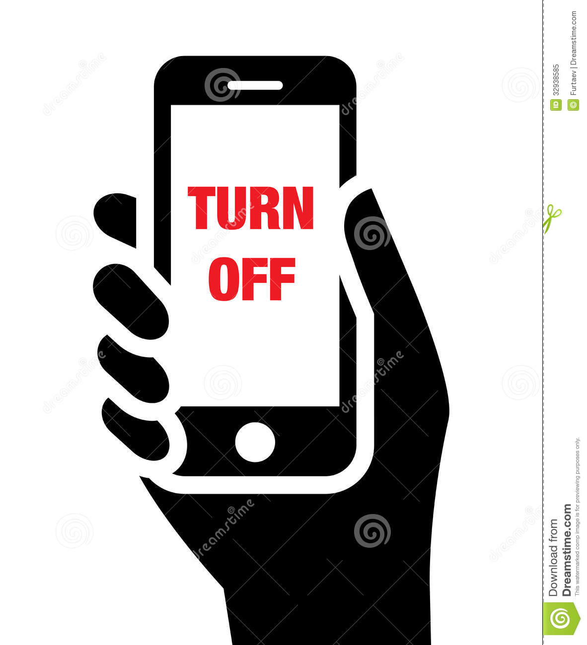 Turn Off Mobile Phones Icon Royalty Free Stock Photo   Image  32938585