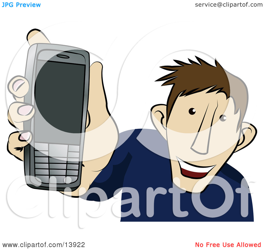Young Man Showing Off His New Cellphone Clipart Illustration By Geo