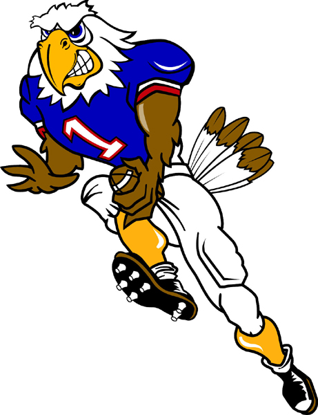 Eagle Football Player Team Mascot Color Vinyl Sports Sticker  Make It