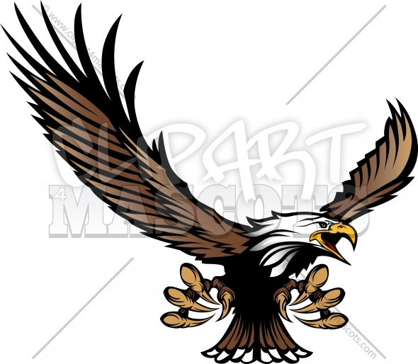 Eagle Mascot Flying With Talons And Wings   Clipart 4 Mascots