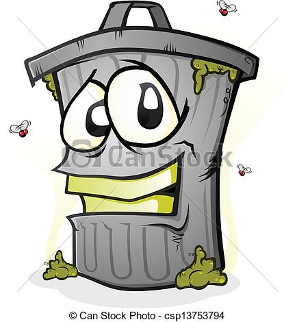 Eps Vectors Of Smiling Trash Can Cartoon Character   A Garbage Can