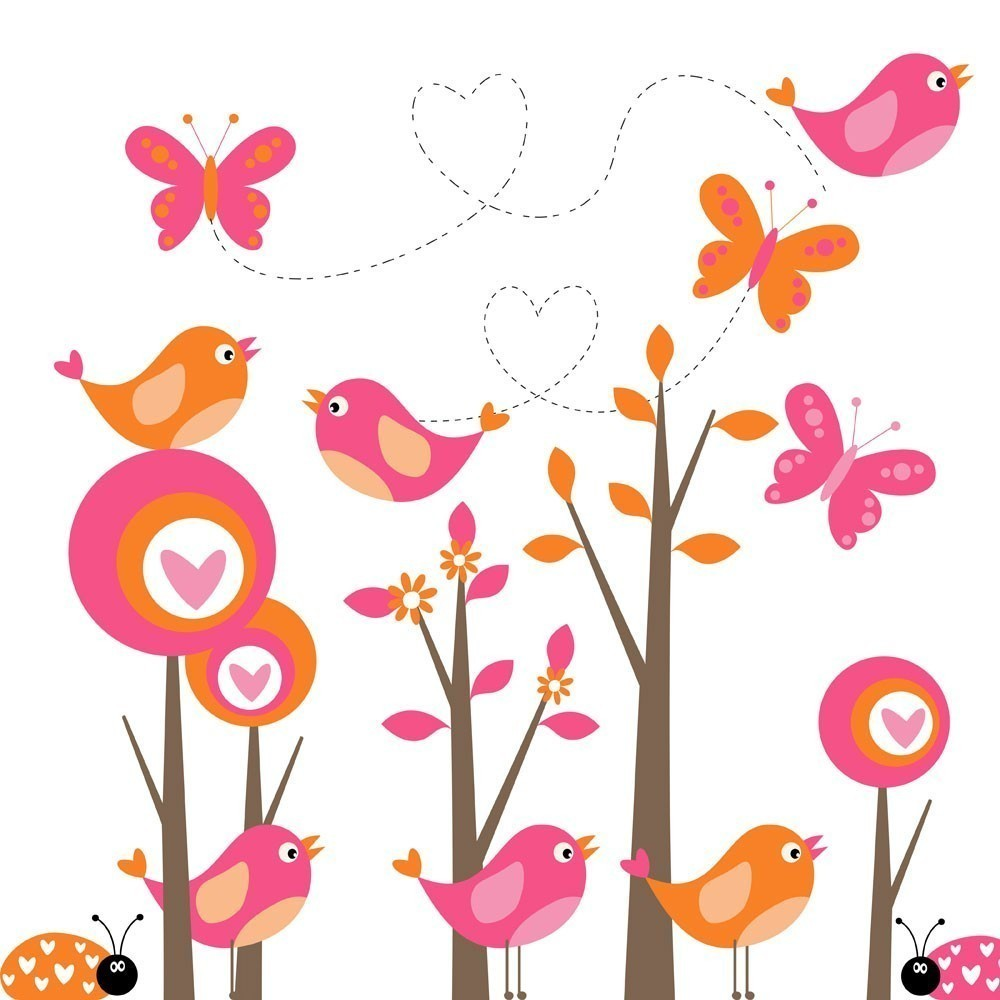 Mod Forest Clip Art With Birds And By Tracyanndigitalart On Etsy