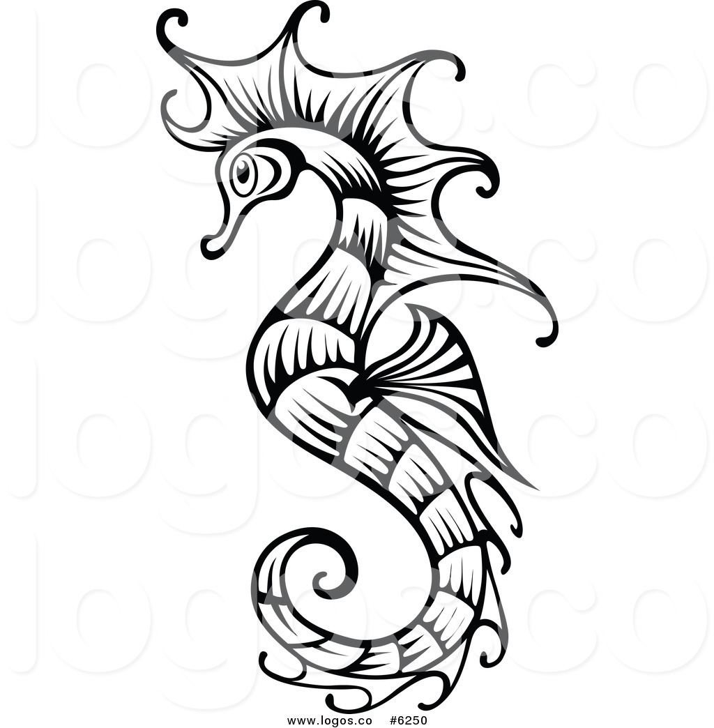 Royalty Free Clip Art Vector Logo Of A Black And White Seahorse By