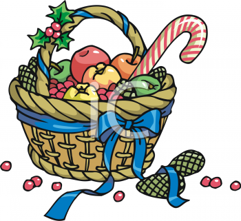 Royalty Free Clipart Image  Christmas Gift Basket With Winter Fruit