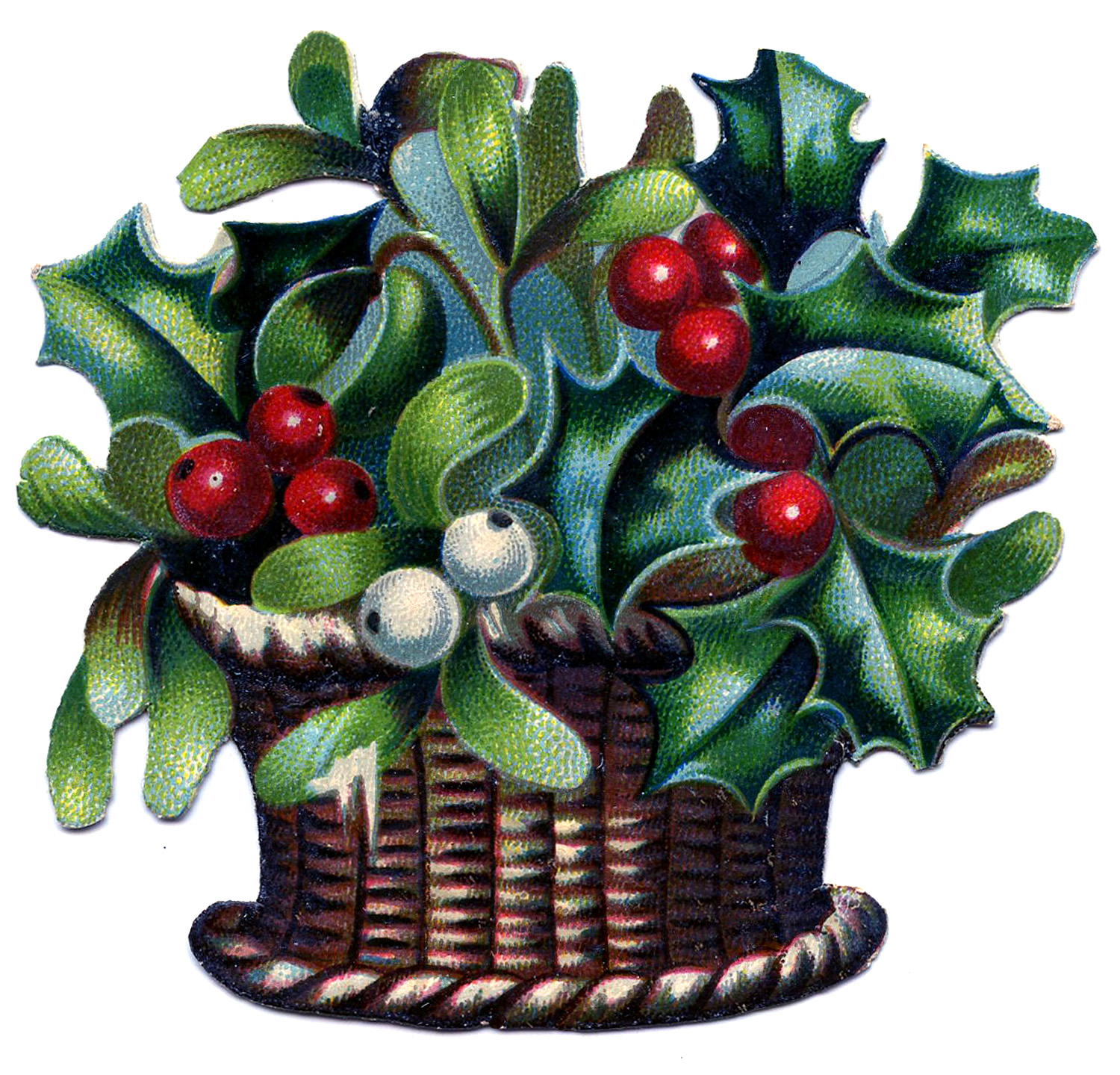 Vintage Christmas Image   Basket Of Holly And Mistletoe   The Graphics